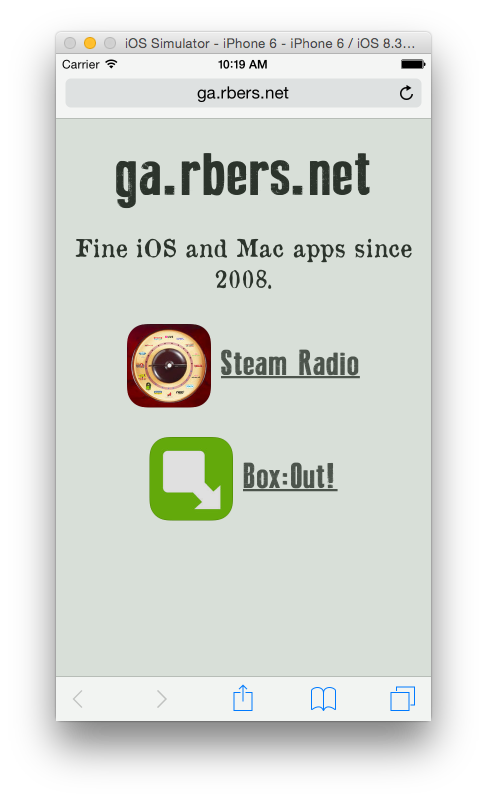 ga.rbers.net Screenshot iPhone Simulator